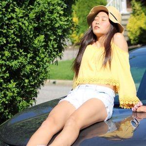 h&m yellow chiffon blouse